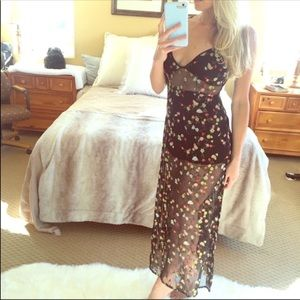 SEXY Black Sheer Cut Out Floral Long Maxi Dress